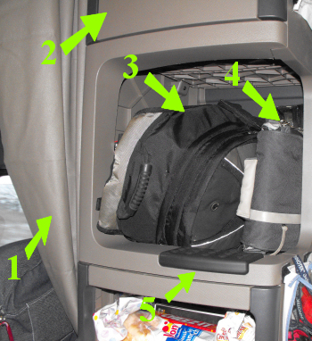 Middle section of passenger side cabinets